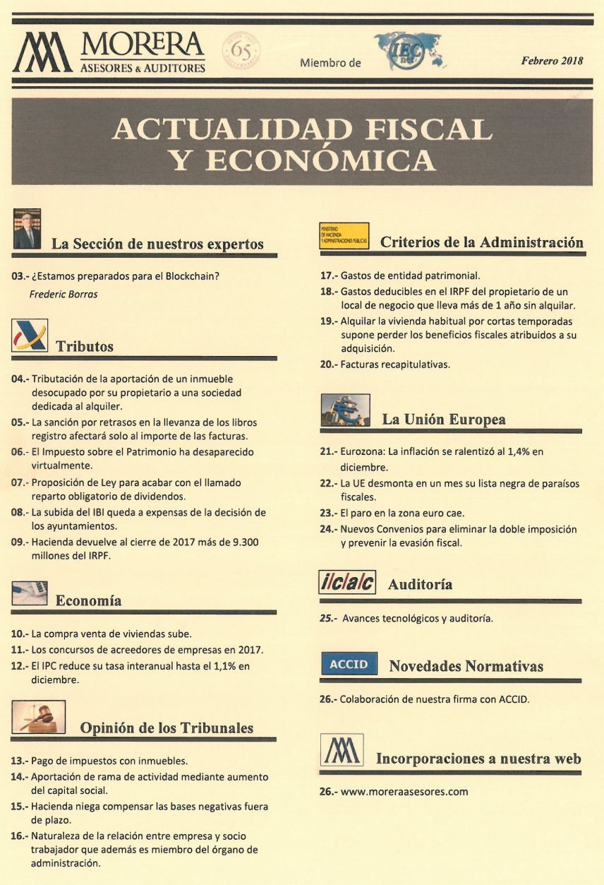 Revista Morera Asesores & Auditores correspondiente a febrero de 2018