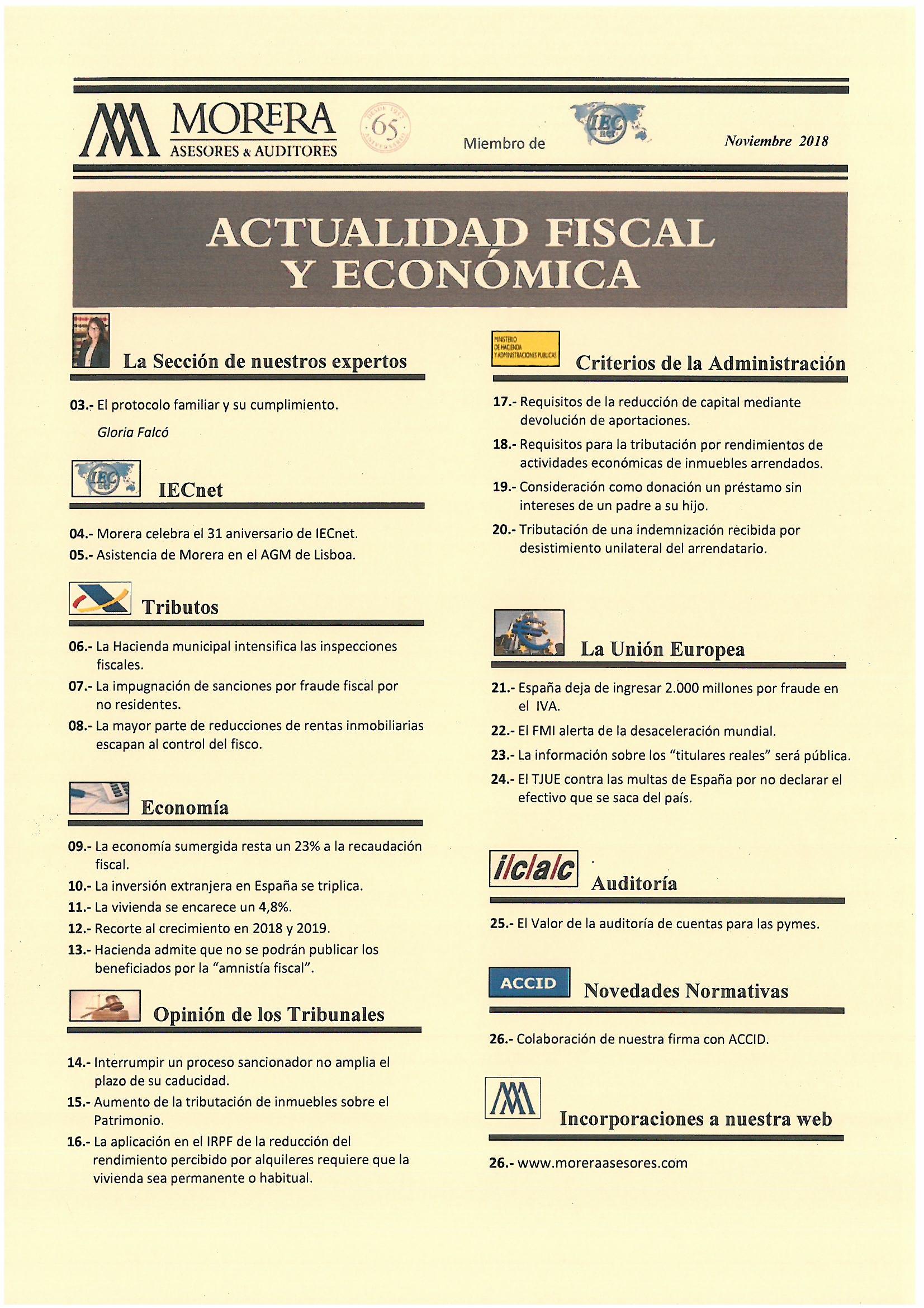 Revista Noviembre 18 Morera Asesores & Auditores