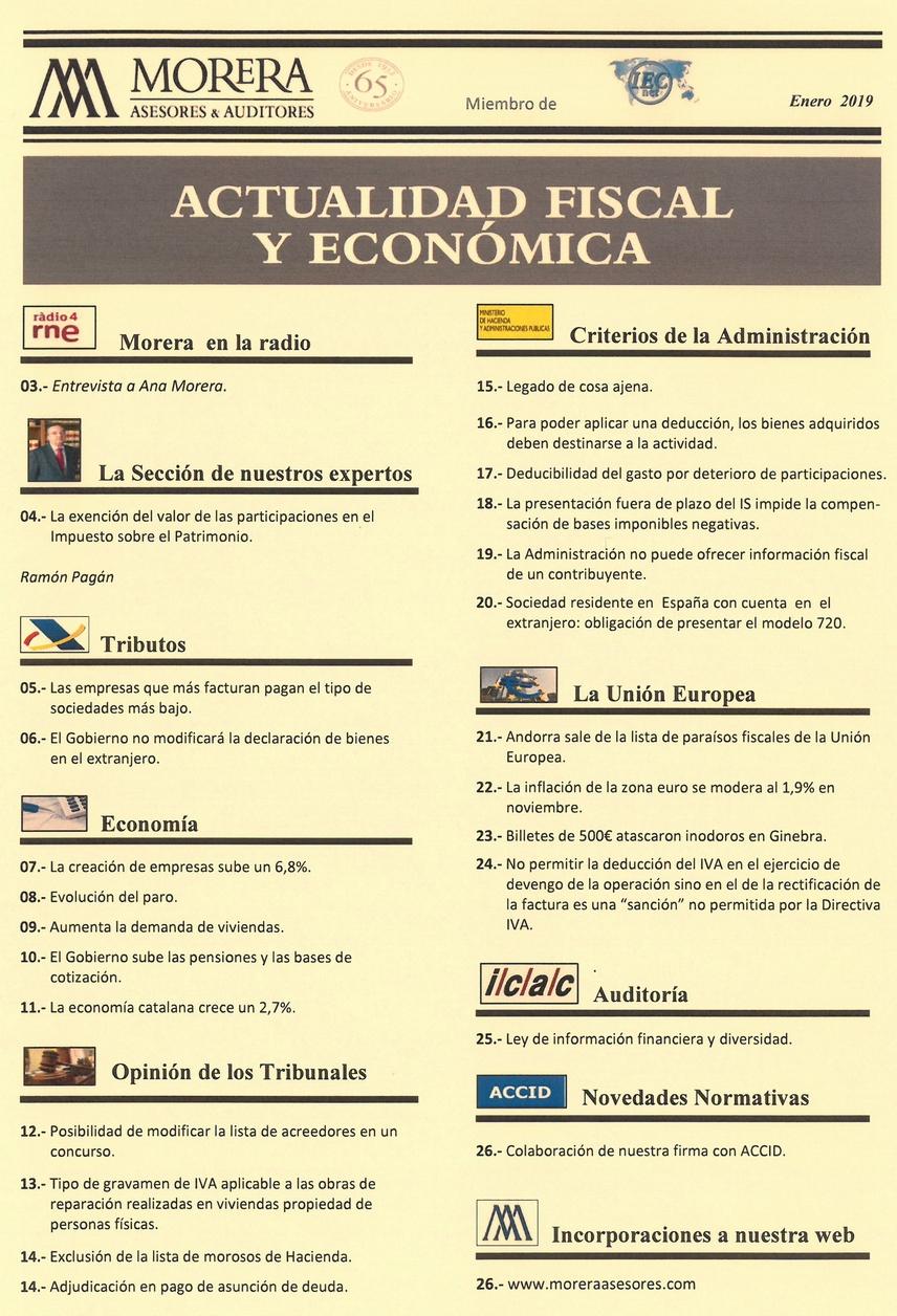 Revista Morera Asesores & Auditores Enero 2019