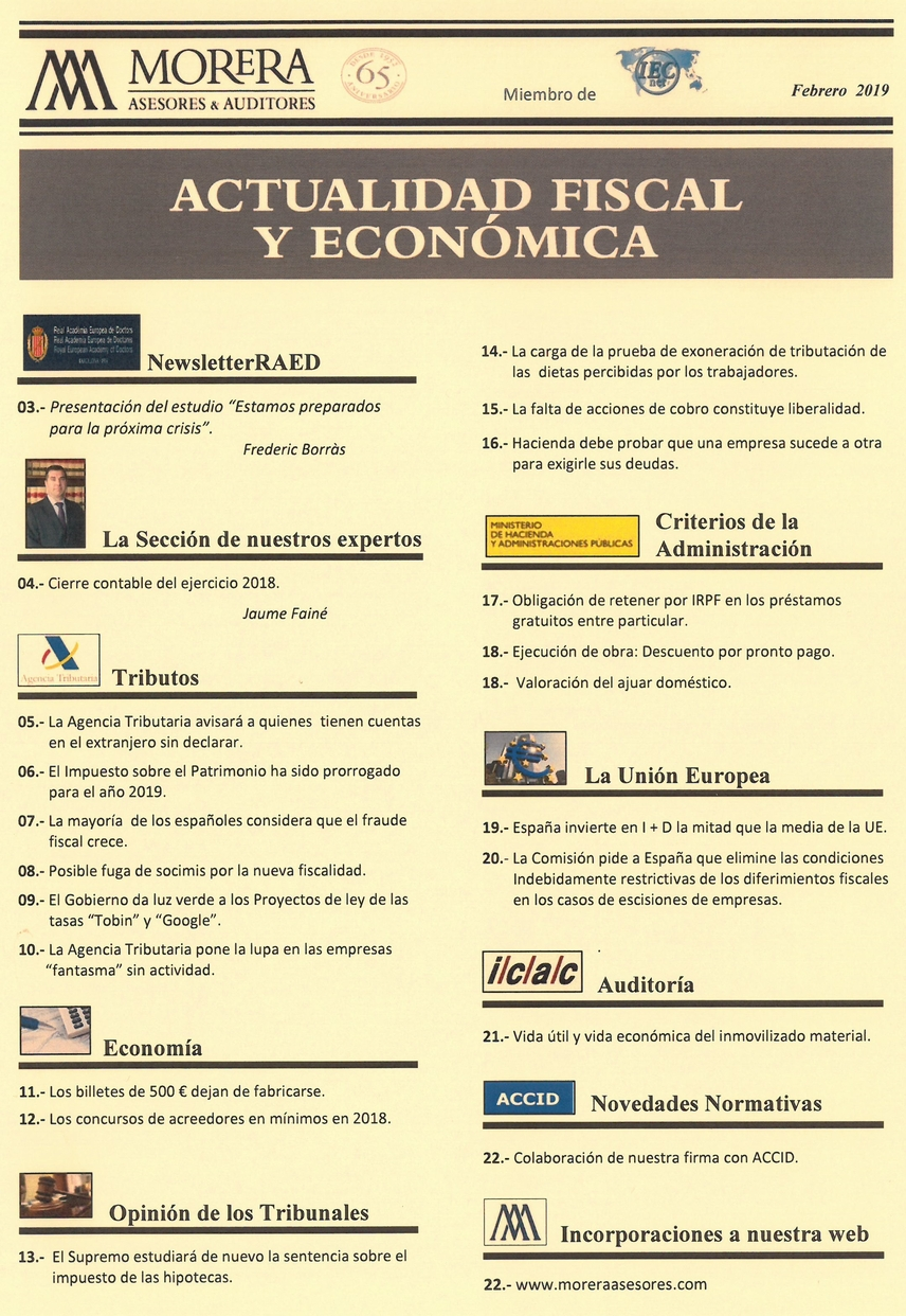 Revista Morera Asesores & Auditores Febrero 2019