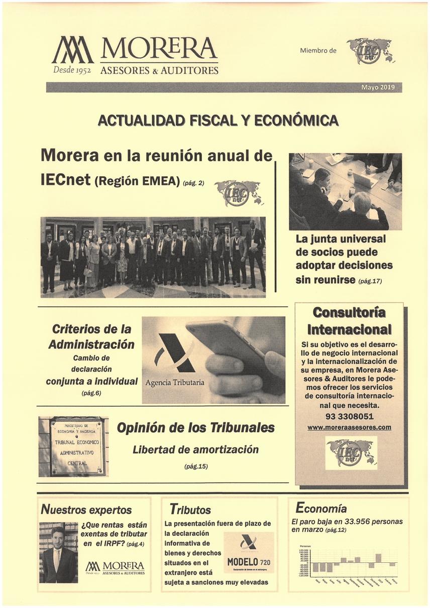 Revista Morera Asesores & Auditores, Mayo 2019